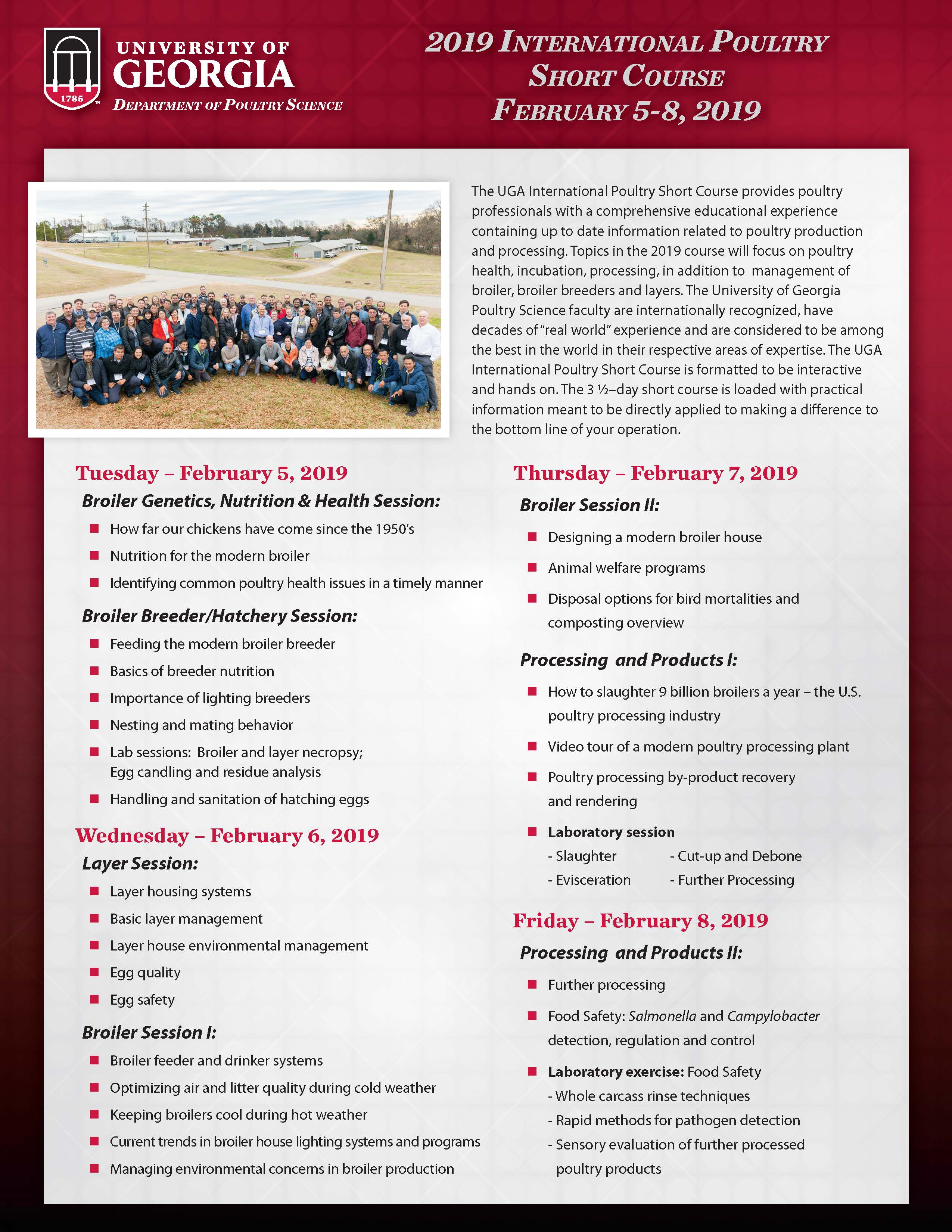 2019 UGA International Poultry Short Course