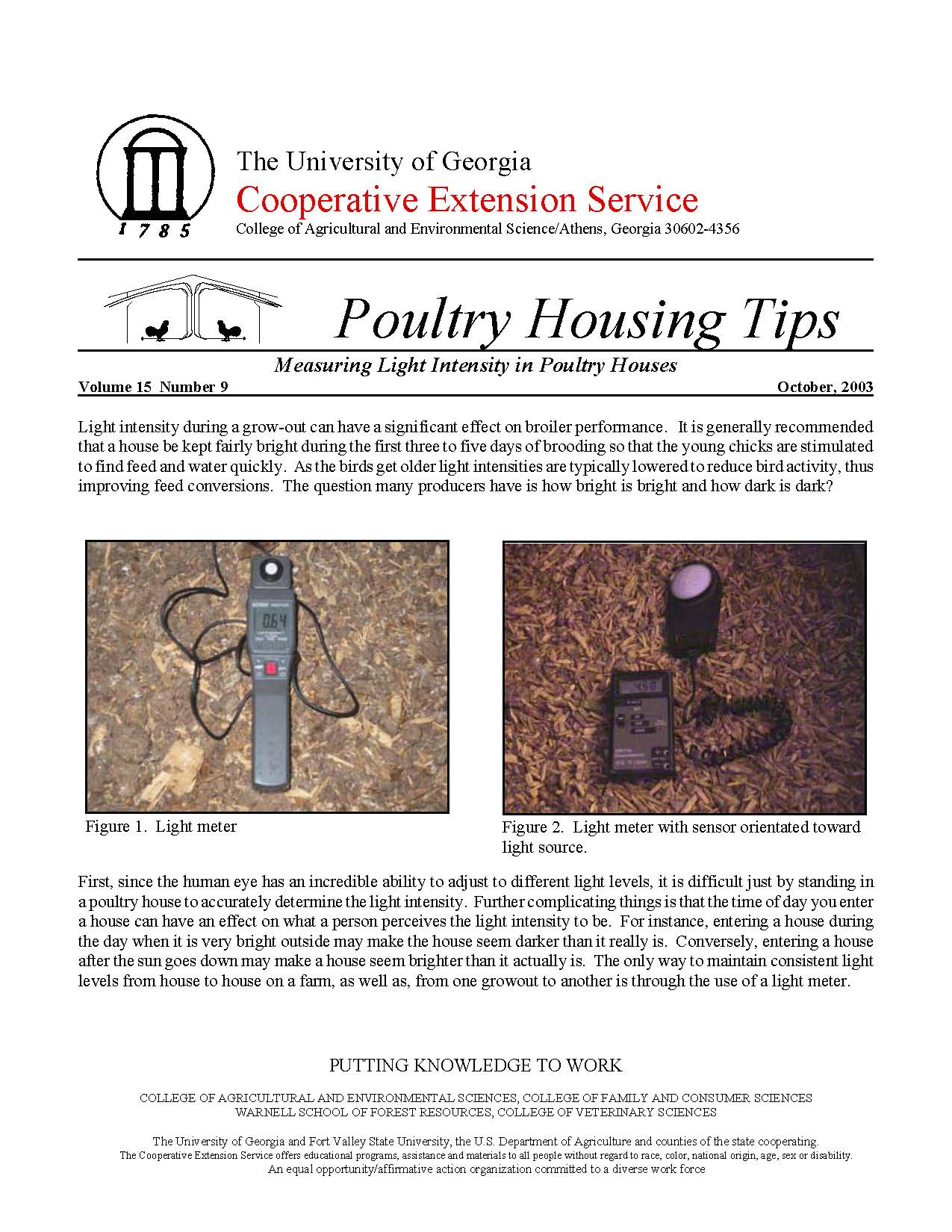 Measing Light Intensity in Poultry Houses | UGA Poultry