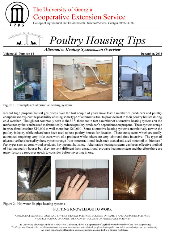 Alternative Heating Systems...an overview | UGA Poultry House ...