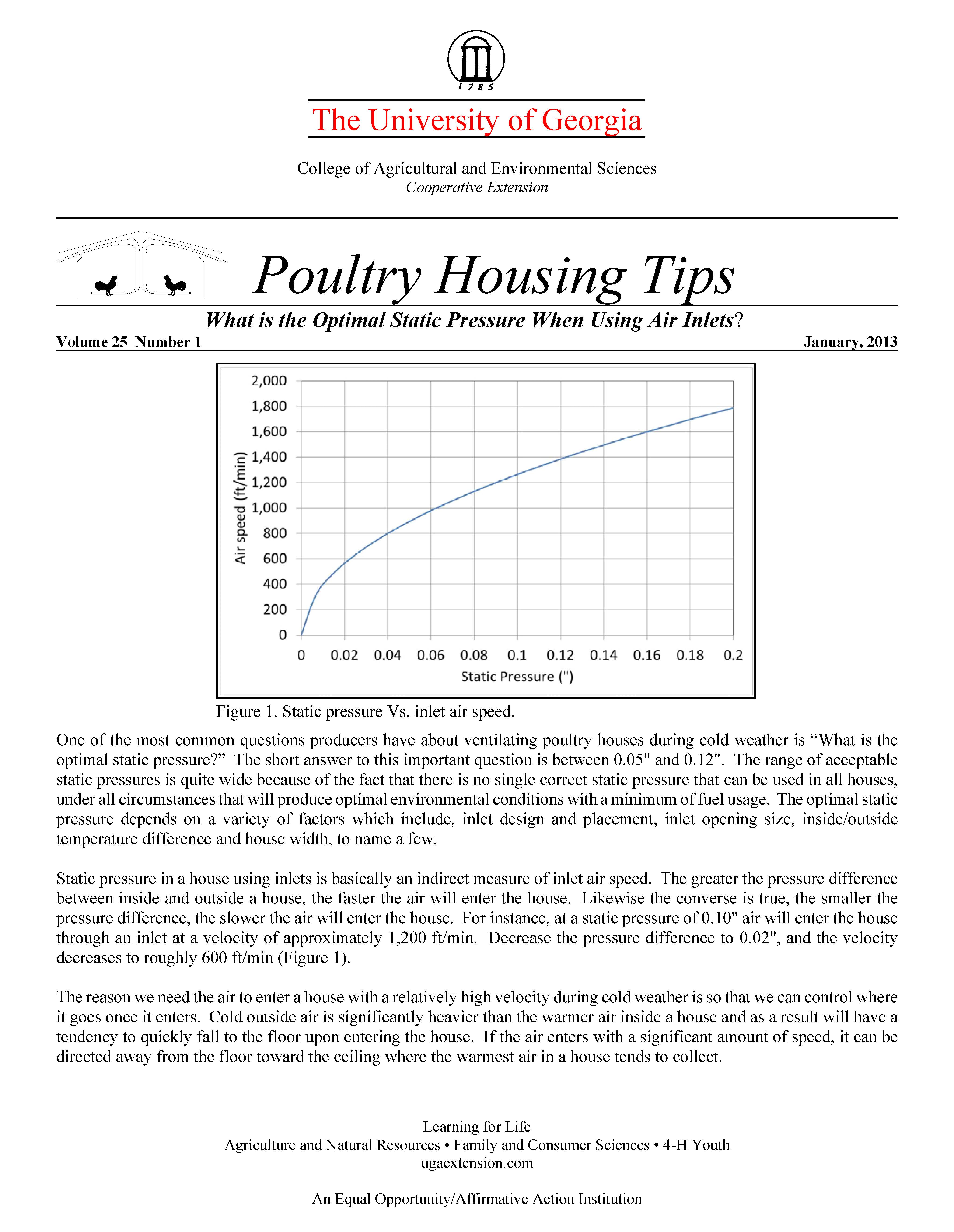 What is the Optimal Static Pressure When Using Air Inlets? | UGA