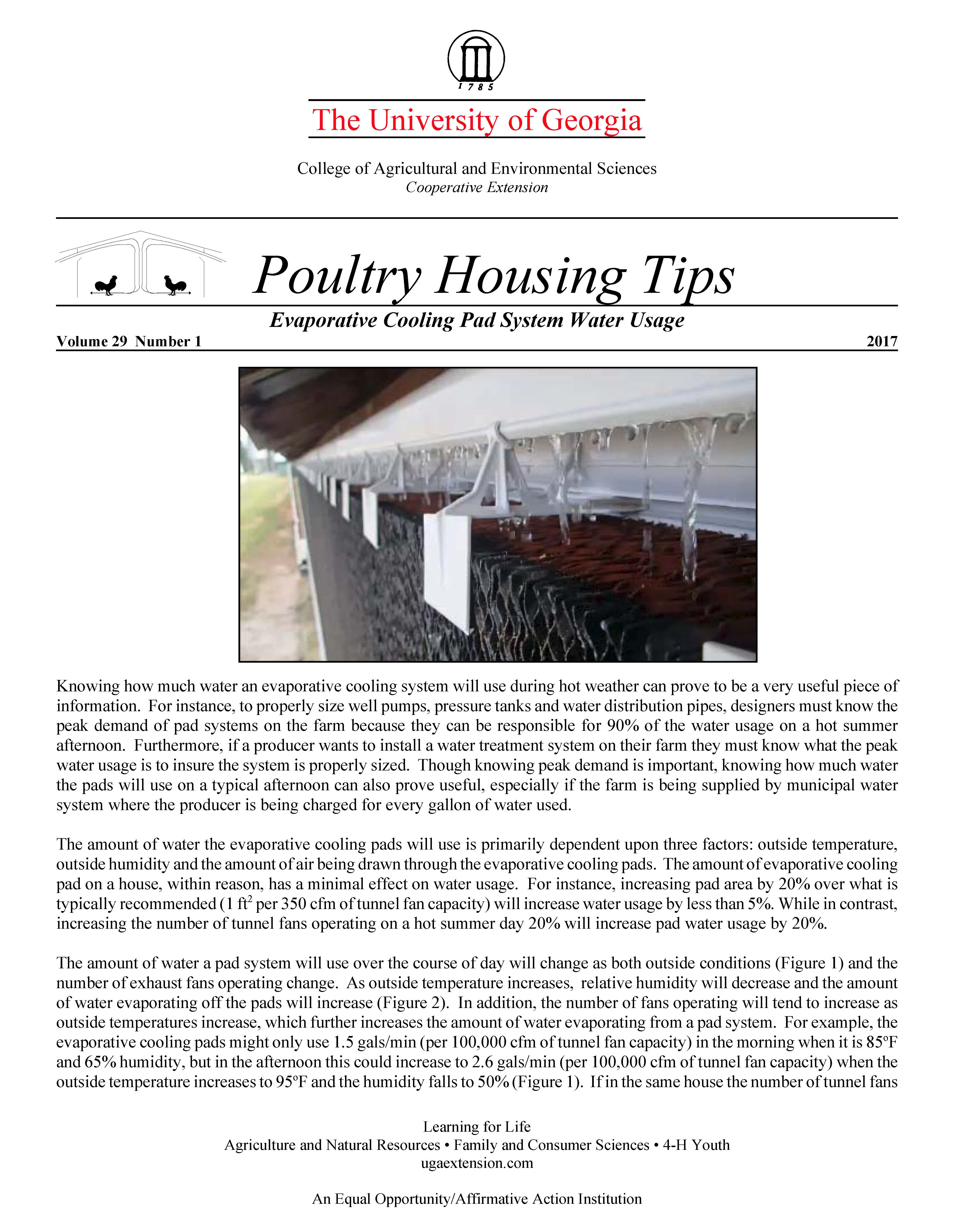 Evaporative Cooling Pad System Water Usage | UGA Poultry